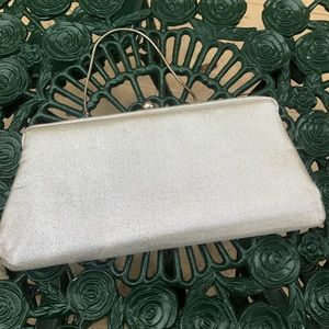 Vintage 50s silver metallic cocktail clutch  purse
